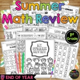 End of the Year MATH REVIEW Summer Packet for 1st Grade No Prep Printables