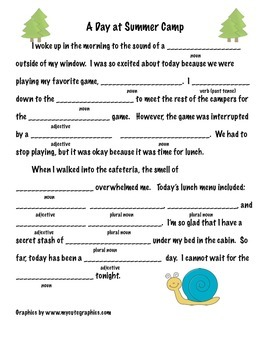 End of the Year Mad Lib Activity