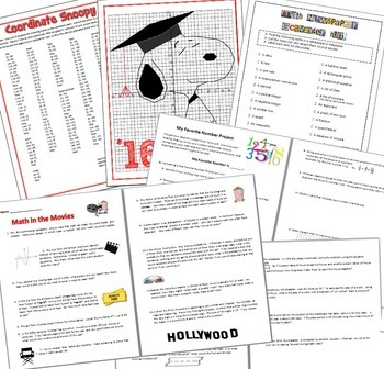 End of the Year Math - 8 Activitiy Bundle - We Made It!