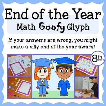 End of the Year Math Goofy Glyph (8th grade Common Core)