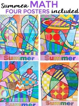 Summer Math for Summer School Activities - Math Fact Poster BUNDLE