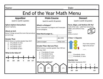End of the Year Math Menu