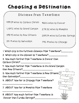 End of the Year Math Project for Upper Grades *Texarkana