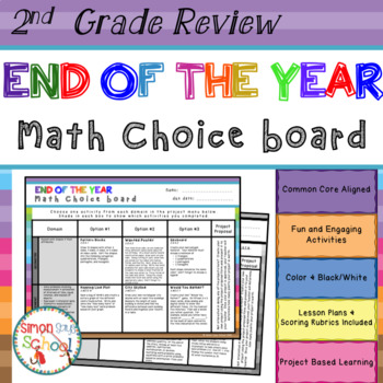 End of the Year Math Review Choice Board – 2nd Grade Standards