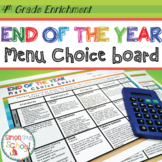 4th Grade Math Review Choice Board – End of the Year Menu – Distance Learning