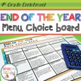 4th Grade Math Review Choice Board – End of the Year Menu