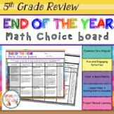5th Grade Math Review Choice Board – End of the Year Math Menu