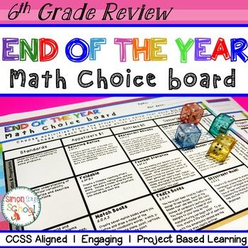 6th Grade Math Review Choice Board – End of the Year Math Menu