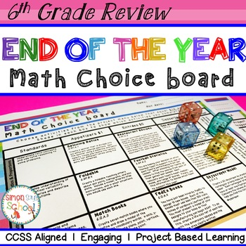 6th Grade Math Review Choice Board End Of The Year Math