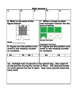 End of the Year Math Review Questions