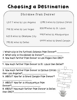 End of the Year Math Road Trip Project *Denver*