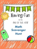 End of the Year Math Scavenger Hunt