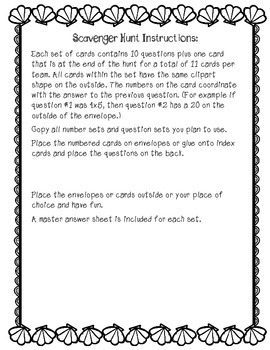 End of the Year Summer Math Scavenger Hunt