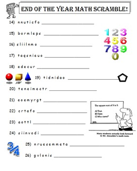 End of the Year Math Scramble (A Thinking Activity)