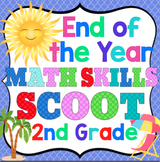 2nd Grade End of the Year Math Skills Scoot Bundle: 2nd Grade Math Review