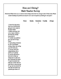 End of the Year Math Teacher Survey for Students