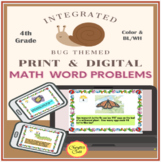 Spring Math Word Problems with Bug Theme: Grades 4 and 5