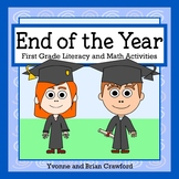 End of the Year Math and Literacy Activities First Grade Distance Learning