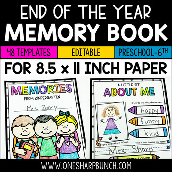 End of the Year Memory Book {8.5 x 11 Inch}