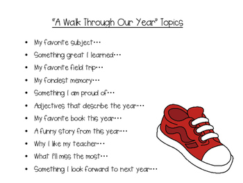 "End of the Year Memory Book-""A Walk Through Our Year"""