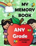 End of the Year Memory Book Autograph Pages - ANY Grade FREEBIE