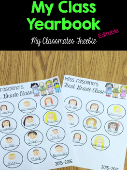 End of the Year Memory Book Classmate Page FREEBIE