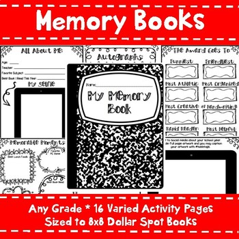 End of the Year Memory Book - End of the Year Activities - Dollar Spot Books
