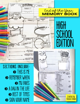 End of the Year Memory Book Flipbook for High School Distance Learning