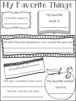 End of the Year Memory Book: Grades K-7