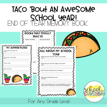 End of the Year Memory Book: Taco Themed