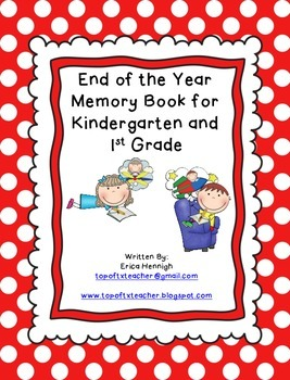 End of the Year Memory Book Writing Activity for Kindergar
