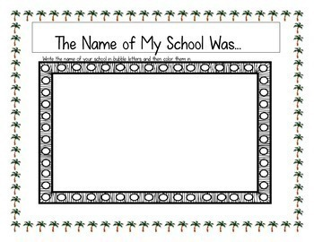 End of Year Activity: Memory Book - Palm Tree Theme (Any Grade)