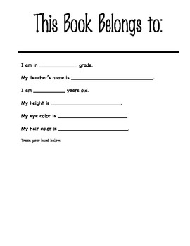 End of the Year Memory Book for Kindergarten Students