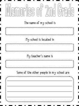 End Of The Year Memory Book For Second Grade Tpt