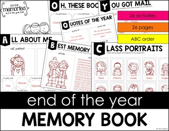 End of the Year Memory Book in ABC order