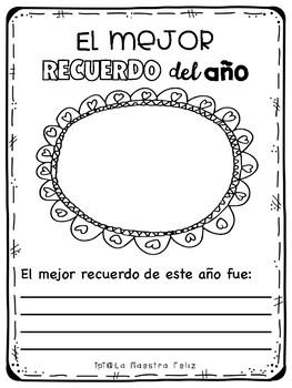 End of the Year Memory Book in Spanish /Libro de recuerdos