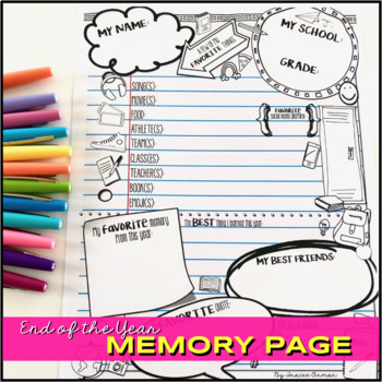 End of the Year Memory Page
