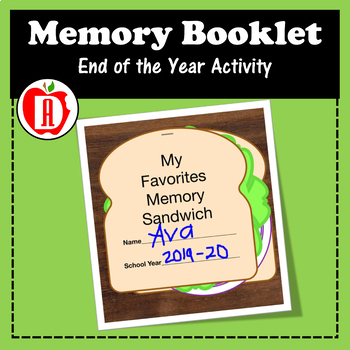 End of the Year Memory Sandwich Book