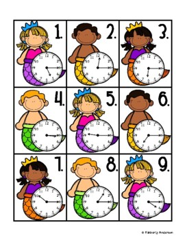 End of the Year: Mermaid Telling Time Match (Quarter Past/After)