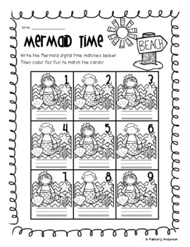 End of the Year: Mermaid Telling Time Match (Quarter To - :45)