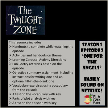 """ELA  End of the Year! The Twilight Zone Episode Activities """"One for the Angels"""""""