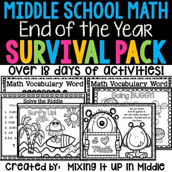 End Of The Year Middle School Math Survival Kit 19 Days Of Activities