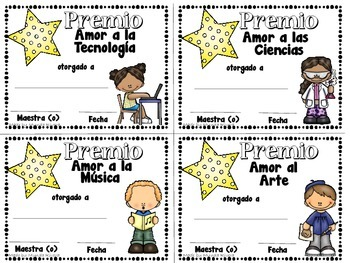 End of the Year Mini Awards in Spanish