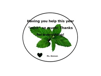 """End of the Year """"Mint"""" Parent Volunteer Gift Tag"""