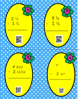 End of the Year Mixed Numbers Task Cards with QR Codes