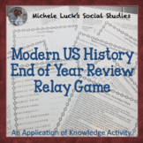 End of the Year Modern America US History Puzzles, Games, and Relay Activity