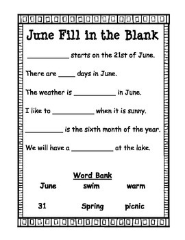 End of the Year: Month of June