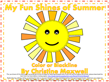 My Fun Shines of Summer Creative Writing and Art Activity  Color and Blackline