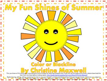 My Fun Shines of Summer Creative Writing and Art Activity!