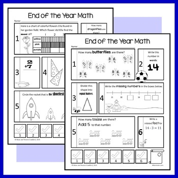 End of the Year No Prep Common Core Math (1st grade) Distance Learning